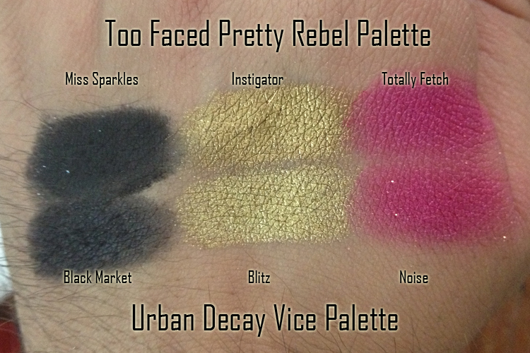 Too Faced Pretty Rebel Palette and Urban Decay Vice Palette similar shade comparisons