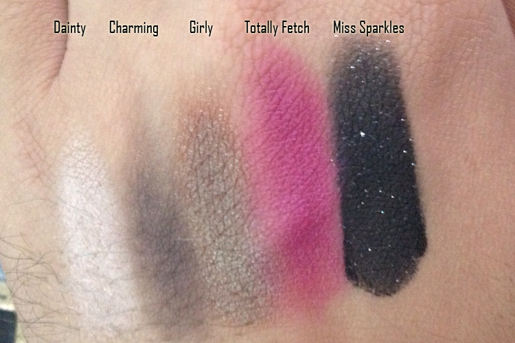Too Faced Pretty Rebel Palette Top Row Swatches