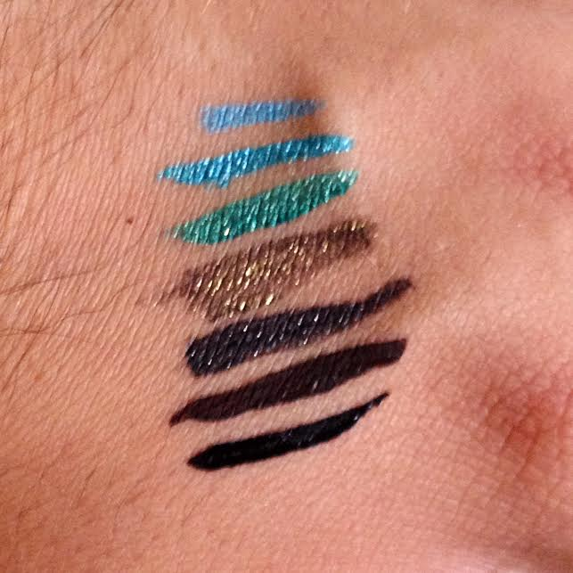 Swatches from top to bottom:  12HR Made to Last Gel Liner Pencil in Aqua Stone, Paradise Beauty, Menthe Passion, Antique Linger, Black Diamond, Brown Desire and Black Envy
